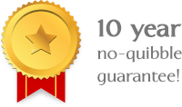 10 year no-quibble guarantee!
